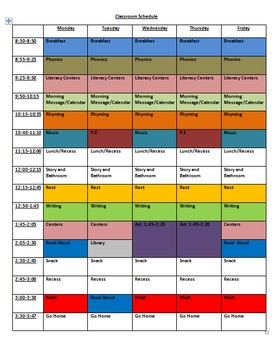 Primary Classroom Schedule Color Coded