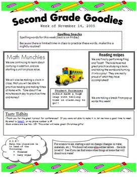 Primary Classroom Weekly Newsletter