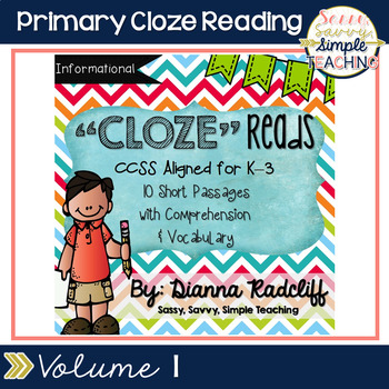 Primary CloZe Reads with Comprehension & Vocabulary Vol. 1 {Standards Based}