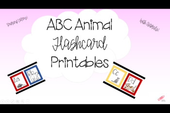 Primary Color ABC Animal Flashcards