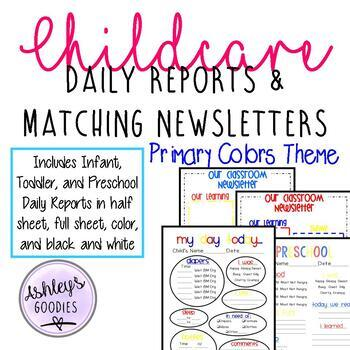 Preschool daily report teaching resources teachers pay teachers primary color childcare daily reports with matching newsletters daycare altavistaventures Gallery