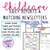 Primary Color Childcare Daily Reports with Matching Newsle
