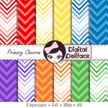 Primary Color Digital Paper, Chevron Backgrounds, Complementary Colors
