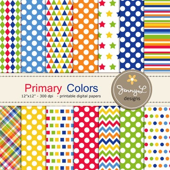 Primary Color Digital Papers