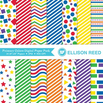 Primary Color Digital Papers - Personal & Educational Commercial Use