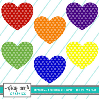Primary Color Polka Dot Hearts
