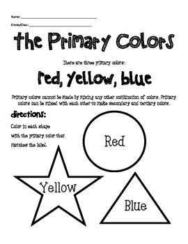 primary color worksheet by mrsallainart teachers pay. Black Bedroom Furniture Sets. Home Design Ideas