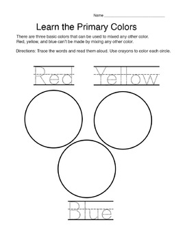 Primary Color worksheet