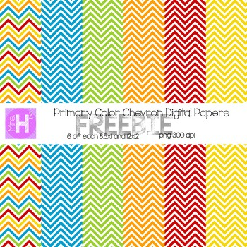 Primary Colored Chevron Digital Paper