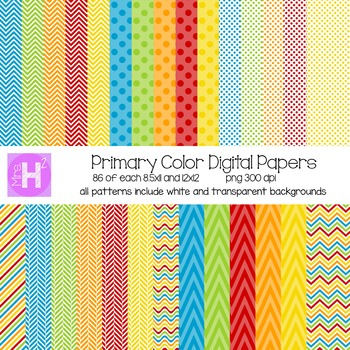 Primary Colored Digital Paper