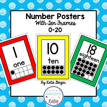 Primary Colored Number Posters with Ten Frames