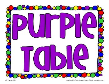 Primary Colored Table Signs