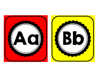 Primary Colored Word Wall Headers Aa-Zz