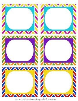 Primary Colors - Chevron Bin Labels - Editable