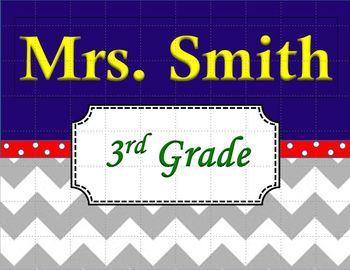 Chevron Teacher's Name Sign Primary Colors