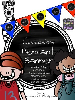 Primary Colors! Cursive Pennant Banner!