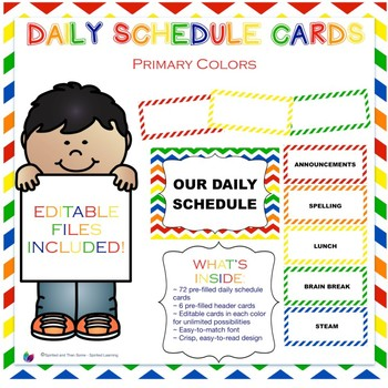 Primary Colors Daily Schedule Cards {Editable!}