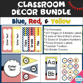 Primary Colors Decor Bundle (Red, Blue, and Yellow)