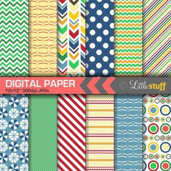 Primary Colors Digital Paper Pack, Bold Patterns Digital Backgounds
