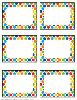 Primary Colors EDITABLE Name Tags and Labels
