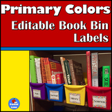 Primary Colors Editable Book Bin Labels