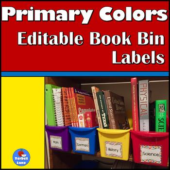 Primary Colors Editable Book Bin Labels