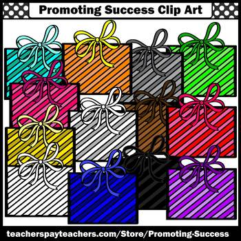 Primary Colors Gift Box Clipart Birthday Clip Art Christmas Presents Clipart SPS