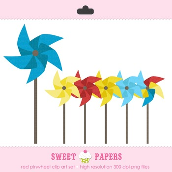 Primary Colors Pinwheel Digital Clip Art Set - by Sweet Papers