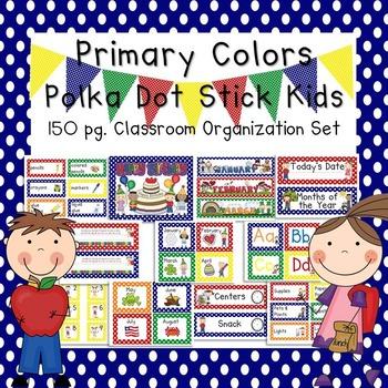 Primary Colors Polka Dot & Stick Kids Classroom Organization and Decor Set