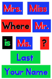 Primary Colors Polka Dot - WORDS for your Where is the counselor sign