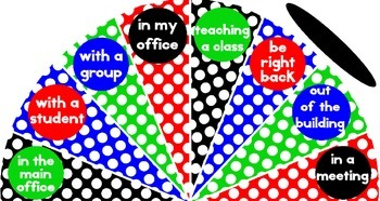 Primary Colors Polka Dot - Where is the counselor? sign