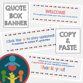 EASY TpT Quote Box Banner | Animated GIF : Primary Colors