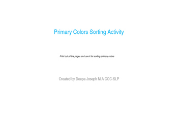 Primary Colors Sorting activity