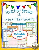Primary Colors Teacher Binder/Lesson Plan Template- EDITABLE
