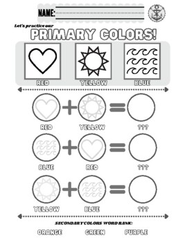 primary colors worksheet by the art mermaid teachers pay teachers. Black Bedroom Furniture Sets. Home Design Ideas