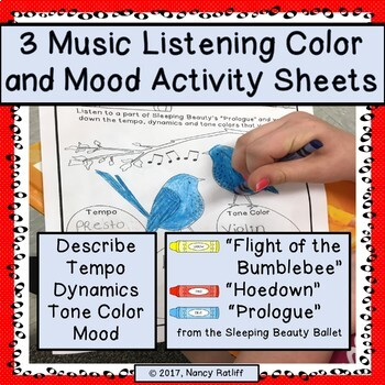 3 Music Listening and Mood Worksheets/Orchestra/Coloring Sheets