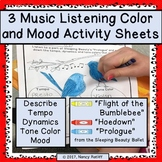 3 Music Listening Color and Mood Activity Sheets Orchestra