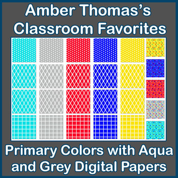 Primary Colors with Aqua and Grey Digital Papers