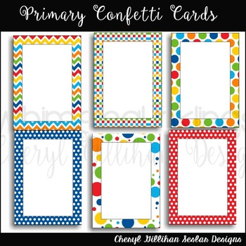 Primary Confetti Cards