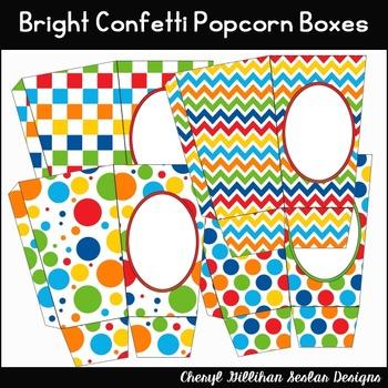 Primary Confetti Popcorn Boxes Printables