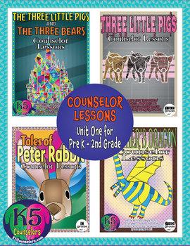 Primary Counselor Lesson Bundle, Unit 1 for each grade (Pre K - 2nd Grades)