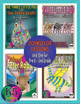 Primary Counselor Lesson Bundle, Unit 1 for each grade (Pre K - 2nd Grades)