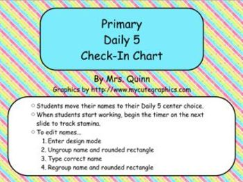 Primary Daily 5 Check-In Flip Chart
