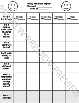 Primary Daily Behavior Report Parent Communication and Behavior Contract