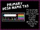Primary Desk Name Tags - Black & Rainbow
