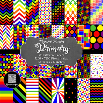 12x12 Digital Paper - Rainbow Collection: Primary (600dpi)