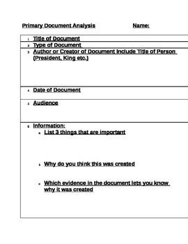 Primary Document Analysis Chart
