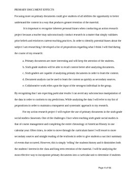 Primary Document Analysis - Thesis - action research paper