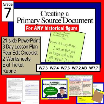 Primary Document Research Activity: Caesar Rodney EDITABLE