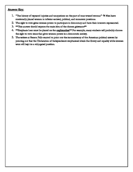 Primary Document Worksheet: Declaration of Rights and Sentiments at Seneca Falls